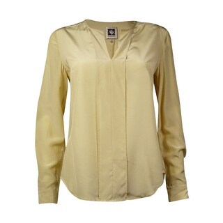 Anne Klein Women's Silk Long Sleeve Pullover Blouse (10, Champagne) - Champagne