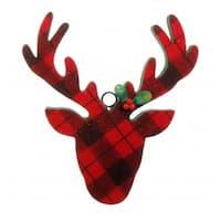 10.5 in. Country Cabin Flocked Black & Red Plaid Deer Head