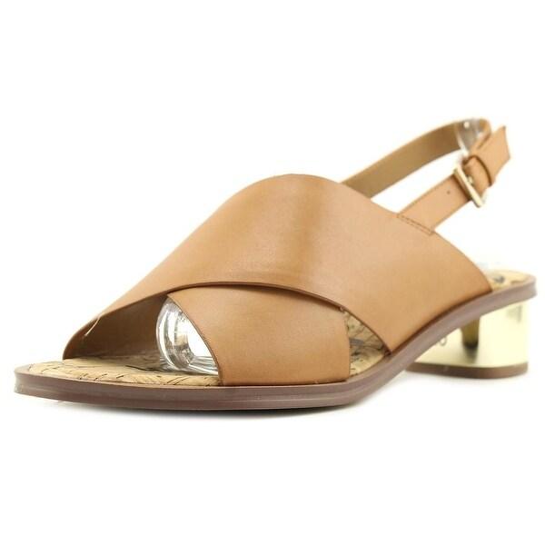 Sam Edelman Torin Women Open-Toe Leather Tan Slingback Heel