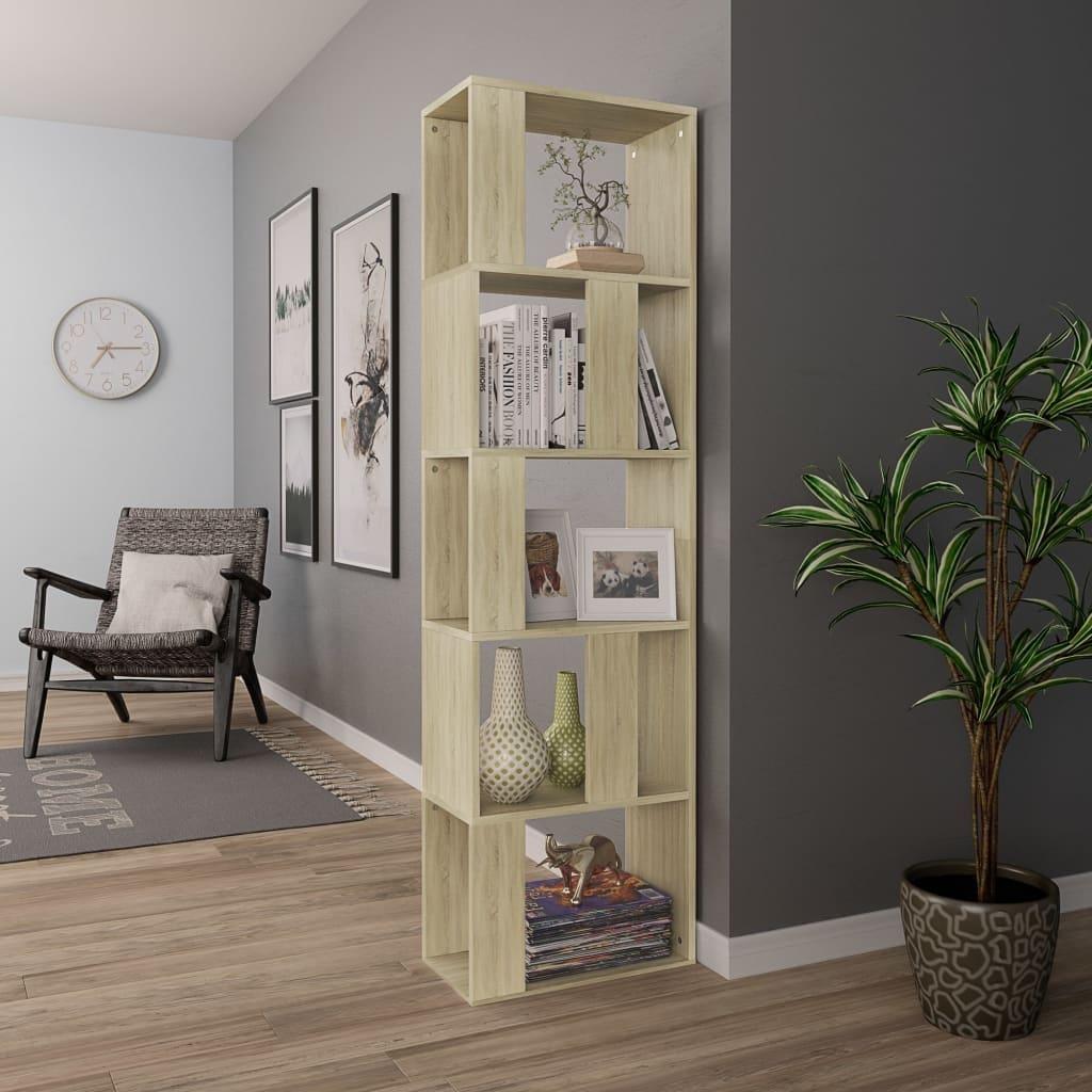 "Book Cabinet//Room Divider Sonoma Oak 17.7/""x9.4/""x62.6/"" Chipboard"