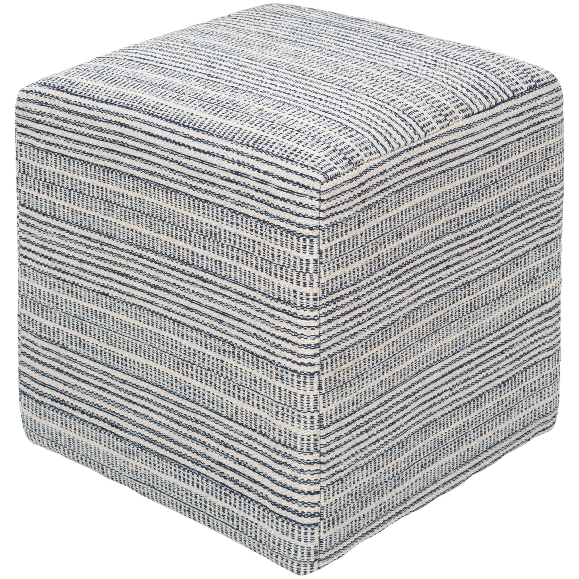 18 Blue And White Striped Square Pouf Ottoman Overstock 28861093