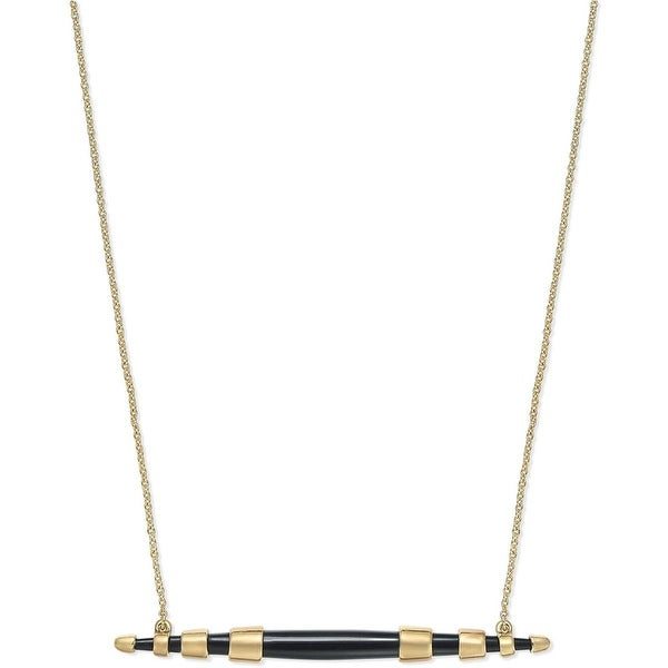 House of Harlow by Nicole Richie Womens Rift Valley Pendant Necklace Horizontal - Black/Gold