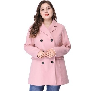Women's Plus Size Notched Lapel Double Breasted Coat - Pink