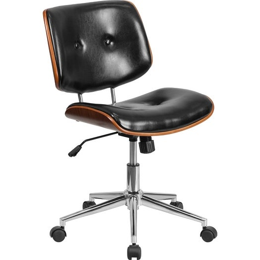 Bennett Springs Mid-Back Black Leather Ergonomic Wood Swivel Home/Office Task Chair