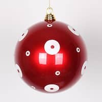 "Candy Apple Red with White Glitter Polka Dots Christmas Ball Ornaments 8"" (200mm)"
