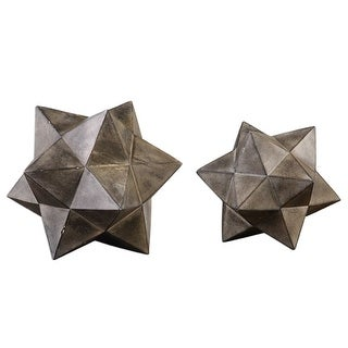 "Set of 2 Geometric Stars Concrete Sculpture 11"" - N/A"