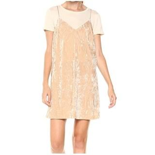 Kensie NEW Beige Womens Size Small S Layered-Loook Velvet Slip Dress