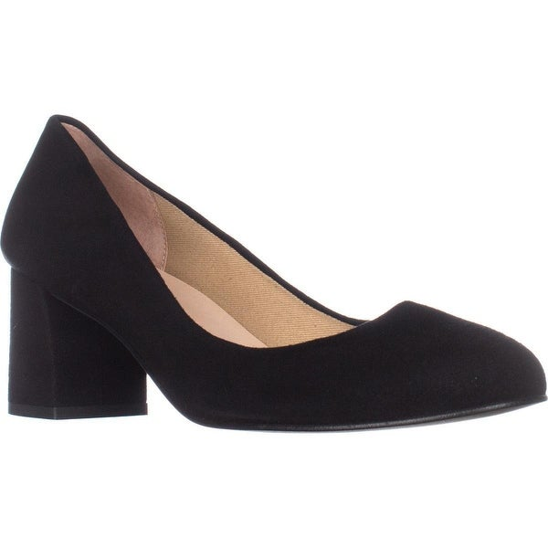 French Sole Trance Block Heel Pumps, Black Suede