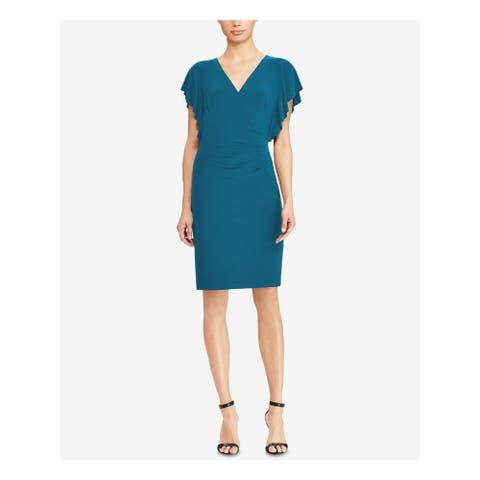 RALPH LAUREN Teal Short Sleeve Knee Length Sheath Dress Size 0