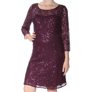 Womens Purple Long Sleeve Knee Length Shift Dress Size: 10