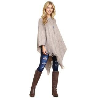 Riah Fashion's Tasseled Poncho - One size