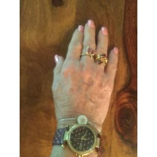 Burgi Women's Swarovski Crystals Quartz Quilted-Design Leather Strap Watch - Red
