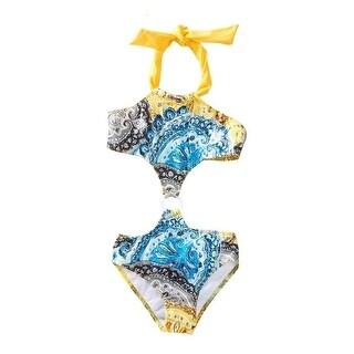 Azul Little Girls Yellow Urban Boho Paisley Printed Monokini Swimsuit