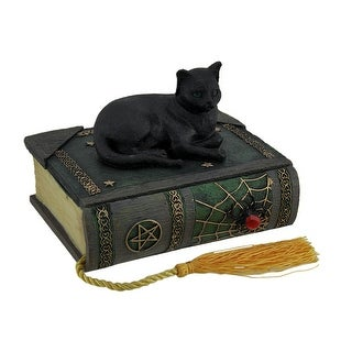 Black Cat on Spell Book 2 Compartment Trinket Box Statue