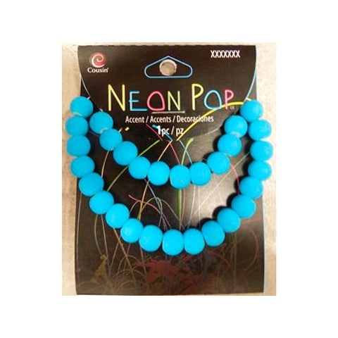 Cousins Neon Pop Beads Glass Blue 26pc