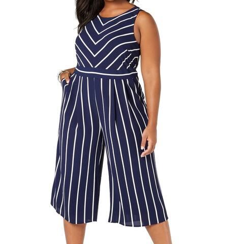 Jessica Howard Women's Jumpsuit Navy Blue Size 16W Plus Stripe Tie Back