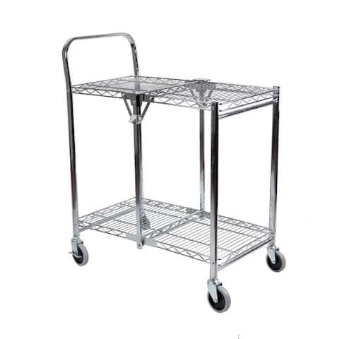 Rod Desyne 2 Tier Commercial Grade Rolling Folding Utility Cart - Wire