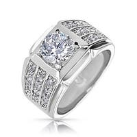 Bling Jewelry Mens Pave CZ Wide Classic Triple Band Ring Rhodium Plated