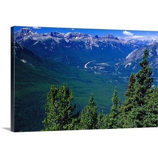 """View westwards to Trans Canada Highway from Sulphur Mountain, Canada"" Canvas Wall Art"