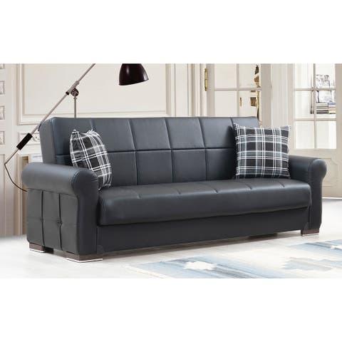 Sunrise Black Leather Upholstered Convertible Sleeper Sofa with Storage