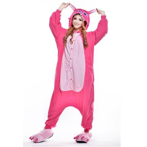 Unisex Adult Pajamas Cosplay Costume Animal one-piece Sleepwear Suit - Pink - L