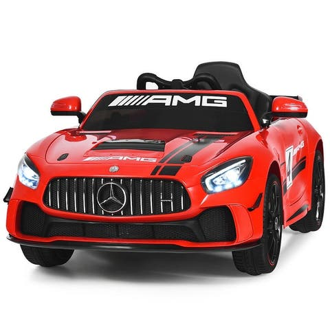 Costway 12V Mercedes Benz AMG Licensed Kids Ride On Car with Remote Control Silver GreyBlackRed