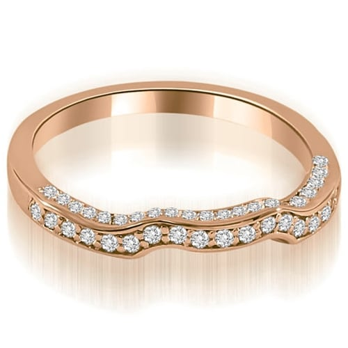 0.27 cttw. 14K Rose Gold Curved Round Cut Diamond Wedding Ring