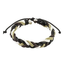 Dark Brown Multi Colored Braided Leather Bracelet with Drawstrings (10 mm) - 7.5 in
