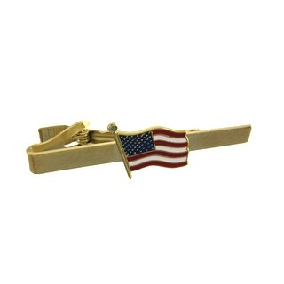 Gold Plated American Flag Tie Bar Clip Business