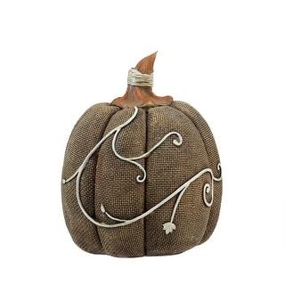 "5"" Autumn Harvest Sandy Brown Burlap Textured Pumpkin Thanksgiving Table Top Decoration - N/A"
