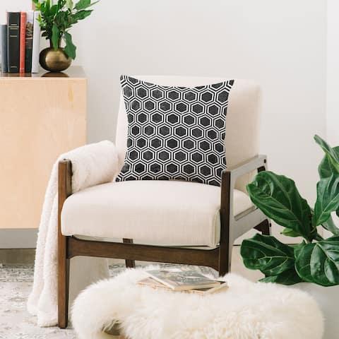 Deny Designs Black Hexagons Indoor/Outdoor Reversible Throw Pillow (4 Sizes)