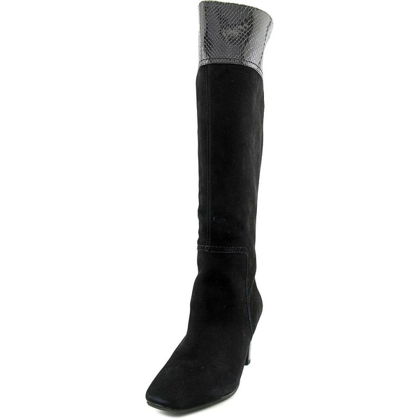 Bandolino Viet Wide Calf Women Square Toe Suede Black Knee High Boot