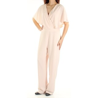ALFANI $130 Womens New 1503 Pink Short Sleeve V Neck Faux Wrap Jumpsuit 8 B+B