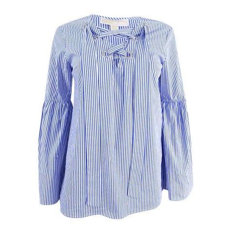 Michael Kors Women's Lace-Up Bell-Sleeve Top - tide blue