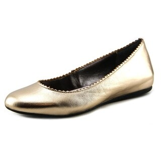 Steven Steve Madden Anniie Women Round Toe Leather Gold Flats
