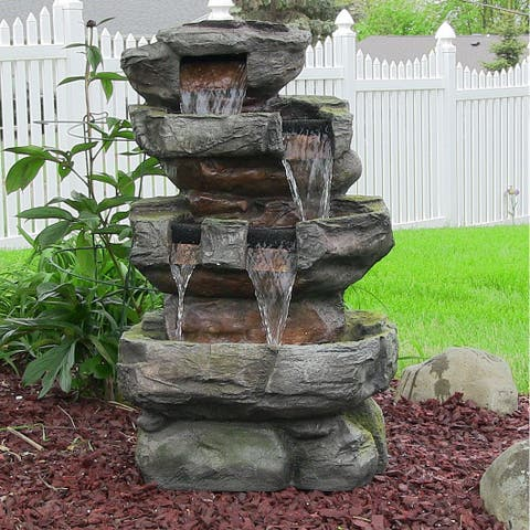 Sunnydaze Outdoor Electric Tiered Stone Waterfall with LED Lights - 24-Inch