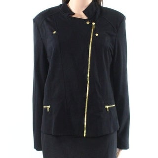 Iman NEW Black Womens Size Large L Moto Asymmetric Front Zip Knit Jacket