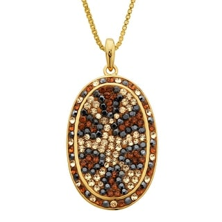 Crystaluxe Leopard Pendant with Swarovski Crystals in 18K Gold-Plated Sterling Silver - Multi-Color