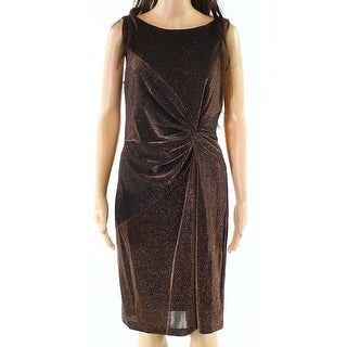 Calvin Klein Womens Shimmer Twist-Front Sheath Dress