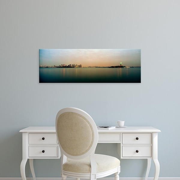 Easy Art Prints Panoramic Image 'River with city skyline, Statue of Liberty, New York Harbor, New York City' Canvas Art