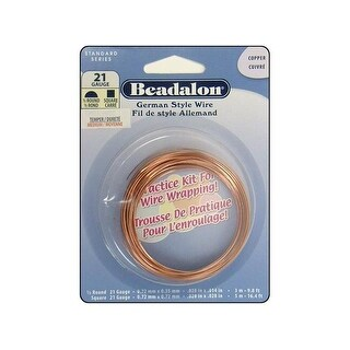 Beadalon German Style Wire Half Rnd&Sq 21ga Copper