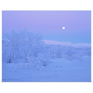 """Moonlight over a winter landscape."" Poster Print"