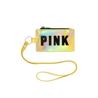 Victoria's Secret PINK Lanyard ID Card Holder Iridescent Gold