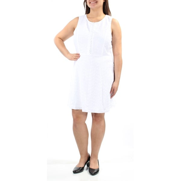 a6a17528388a2 Shop KENSIE Womens Ivory Eyelet Sleeveless Jewel Neck Above The Knee Tunic  Dress Size  XL - Free Shipping On Orders Over  45 - Overstock - 22429050