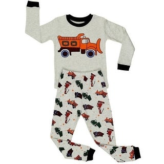 Elowel Boys Beige Sand Truck Print Long Sleeve Cotton 2 Pc Pajama Set