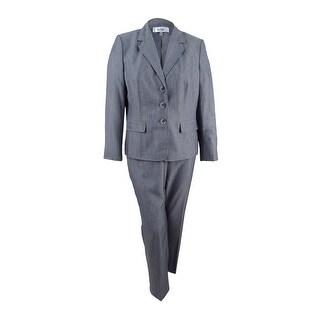 Le Suit Women's Plus Size Melange Three-Button Pantsuit (24W, Slate) - slate - 24W