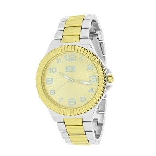 Mens Designer Ice Time Watch 2 Tone Silver & Gold Fluted Bezel Stainless Steel Back