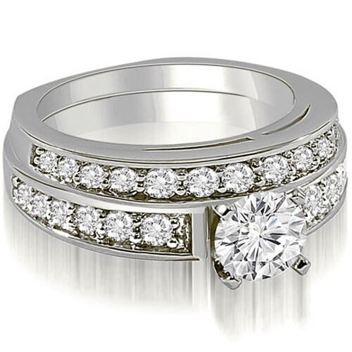 1.60 cttw. 14K White Gold Round Cut Diamond Bridal Set
