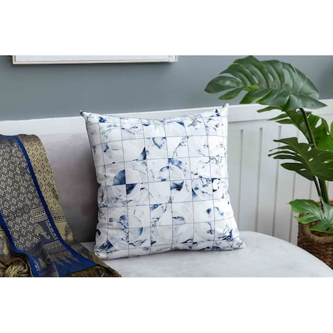 Velvet Print Pillow, Blue Geometric