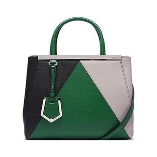 Fendi 2Jours Elite Black Leather Shopper Handbag Green